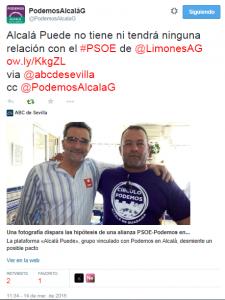 """Twitter de Podemos AlcaláG desmintiendo que """"ni tiene ni tendrá relación con el PSOE"""""""