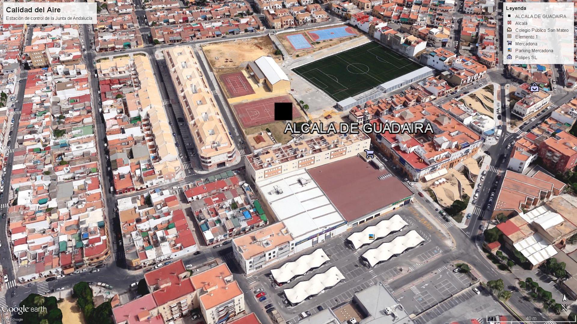 Lugar de las coordenadas donde la Junta de Andalucía dice que está la estación de Vigilacia y Control de Calidad del Aire en Alcalá