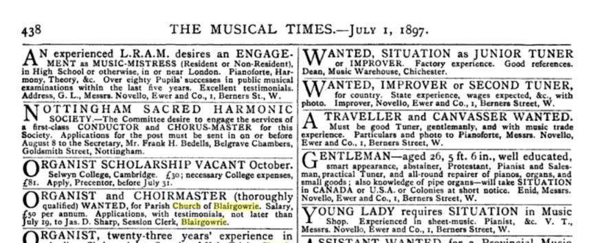 """Se buscaba, por 50 Libras al año, en 1897 un """"Organista y Director de Coro"""" para la Iglesia del que proviene el órgano de Santiago. Casualmente, el organista también es director de Coro aquí."""